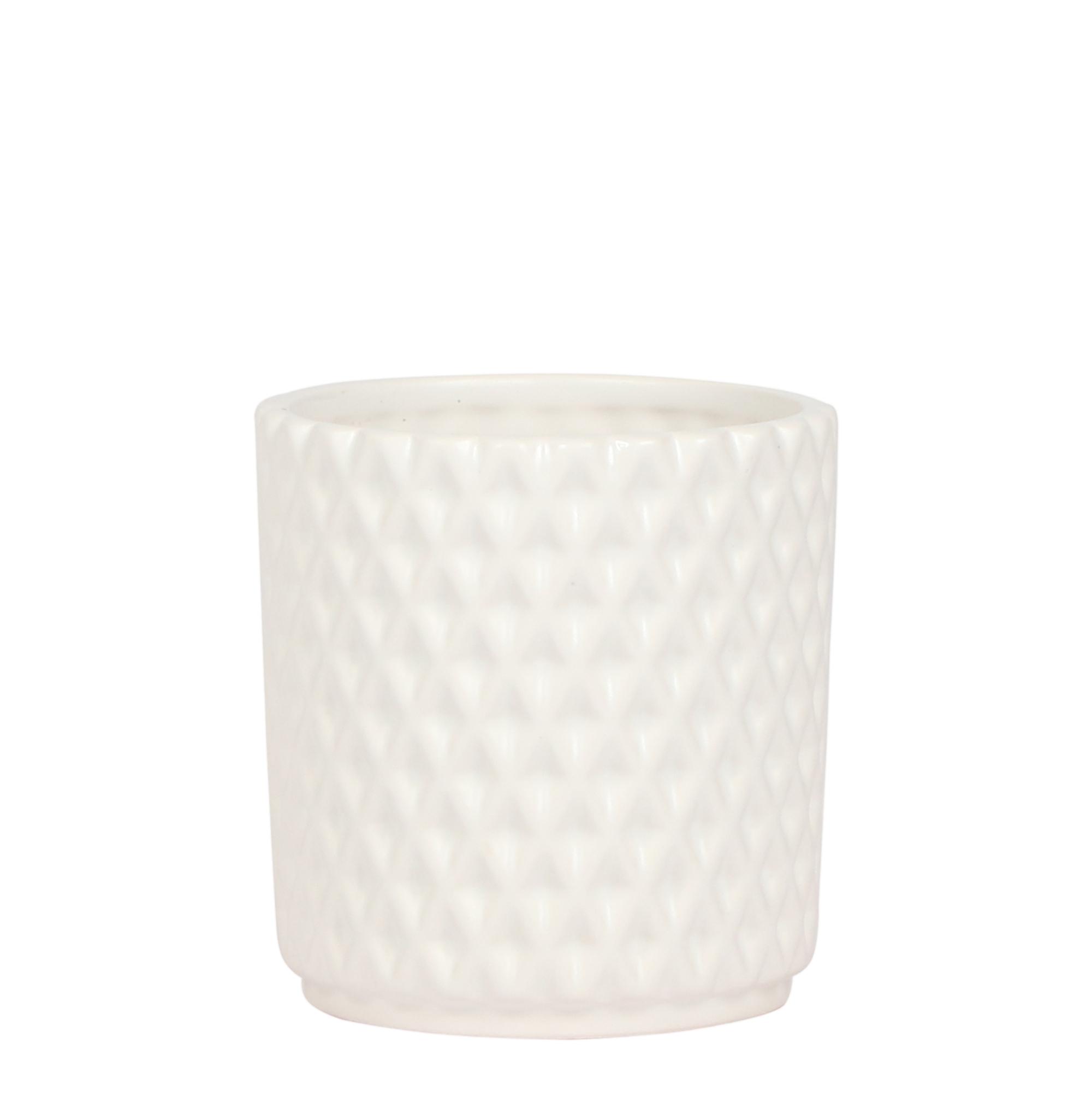 Kolibri Home - bloempot sierpot pot diamond pot white 9cm