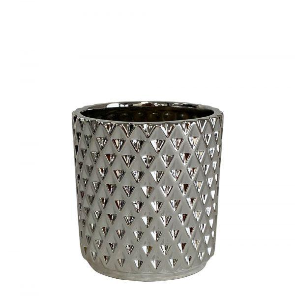 Kolibri Home - bloempot sierpot pot diamond pot zilver 9cm