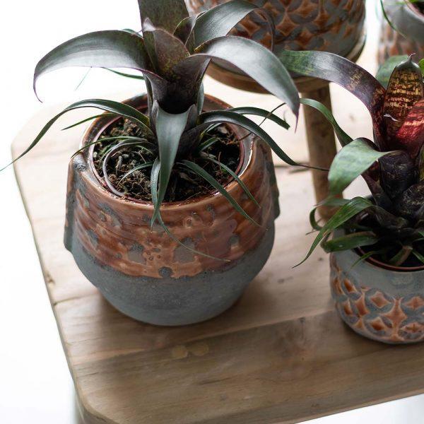 Kolibri Home - bloempot sierpot pot exclusive vintage oranje orange set 6cm 9cm