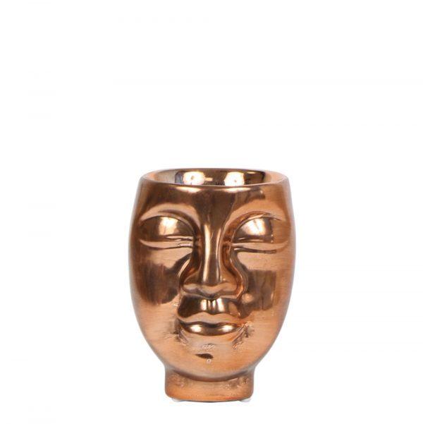 Kolibri Home - bloempot sierpot pot face 2 face face-2-face pot brons 6cm