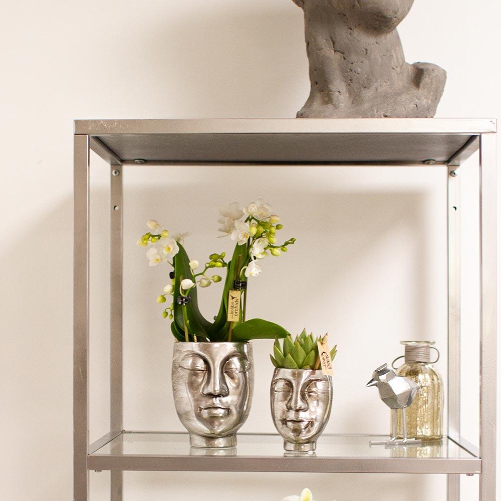 Kolibri Home - bloempot sierpot pot face-2-face zilver9cm