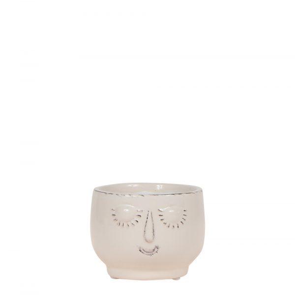 Kolibri Home - bloempot sierpot pot happy face white 6cm
