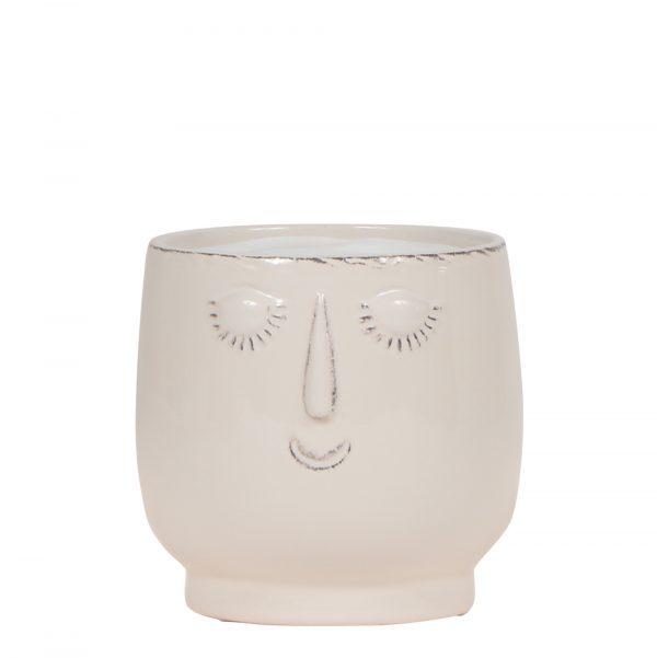 Kolibri Home - bloempot sierpot pot happy face white wit 9cm