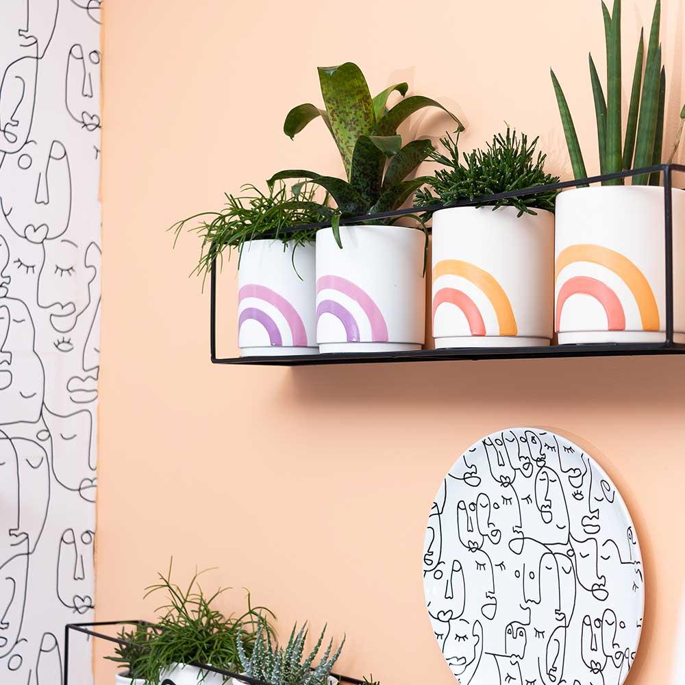 Kolibri Home - bloempot sierpot pot rainbow pink orange 9cm